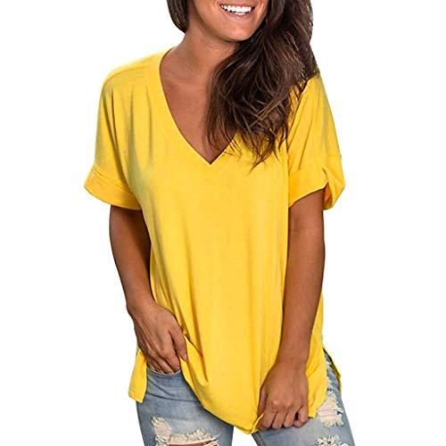 Damen Sommer Tops Casual V-Ausschnitt und Farbverlauf Shirt Hemd Bluse Female Teenager Mädchen Tshirt V-Ausschnitte Loose Oversize Shirt Oberteile Tunika Lose Oberteil Bluse Tops