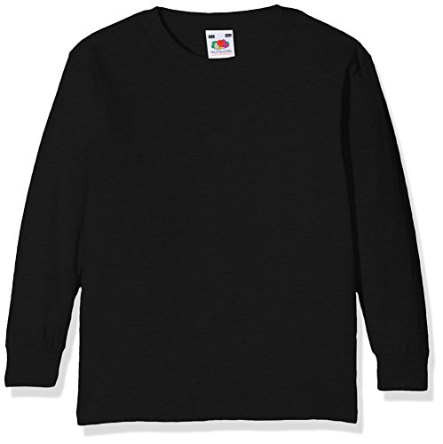 Fruit of the Loom Valueweight Long Sleeve T Kids Camiseta de Manga Larga, Negro (Black 101), 164 cm para Niños