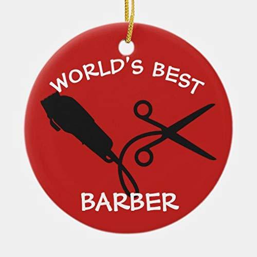 rfy9u7 World's Best Barber Clipper Razor Scissors Ceramic Ornament, Xmas Decorative Hanging Ornaments, Christmas Decoration, 3 Inch