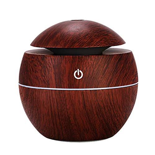 Lanlan USB Wood Grain Difusor de aceite esencial 130ml Humidificador ultrasónico Difusor de Aroma doméstico Aromaterapia Mist Maker Con LED, seta Madera oscura