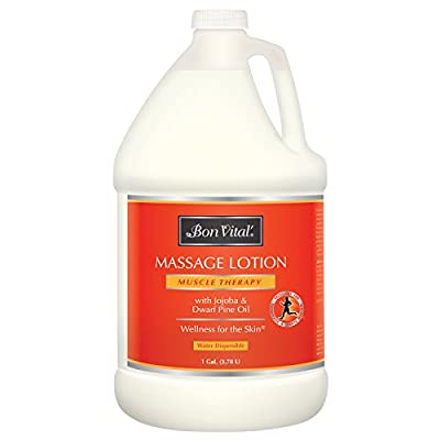 Bon Vital' Muscle Therapy Massage Lotion Made with Dwarf Pine Oil and Essential Oils for a Relaxing Massage and Sore Muscle Relief, Aids in Muscle Recovery Through IASTM and Graston, 1 Gallon Bottle
