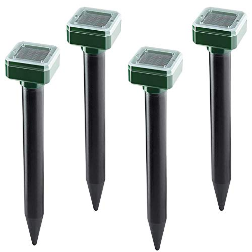 Solar Mole Repellent Ultrasonic 4 Pack,Outdoor Plug in Solar Mole Sonic Repeller,Groundhog Repellent Snake Rodent Gopher Spikes Chaser for Lawn and Garden of Outdoor