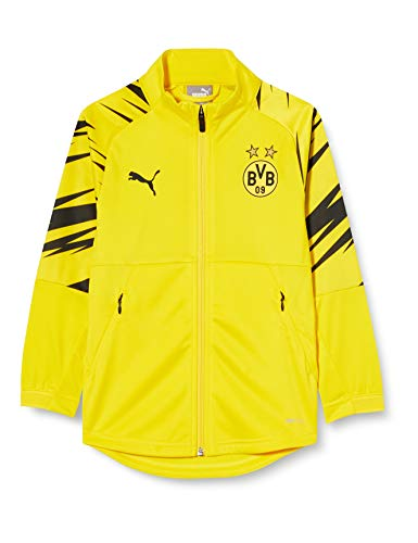 PUMA Uni Trainingsjacke BVB Stadium Jacket Jr, Cyber Yellow-Puma Black-Home, 164, 758138