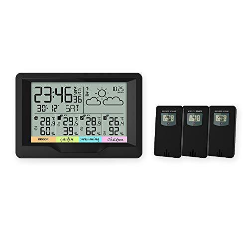 Oule GmbH Funk-Wetterstation inkl. 3 x Außen-Sensoren Thermometer, Hygrometer, Außensensoren, misst Innen- und Außen-Temperatur und -Luftfeuchtigkeit Funk-Uhr mit Wecker