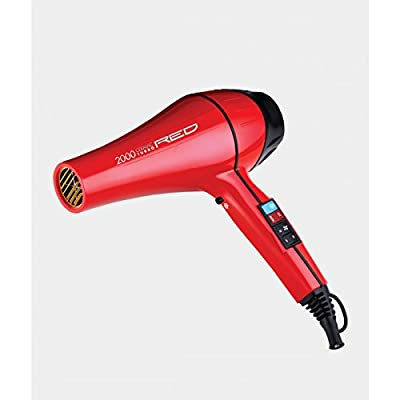 Kiss Products Red Ceramic 2500 Watt Turbo Dryer Plus 3 Styling Attachments, 2.7 Pound