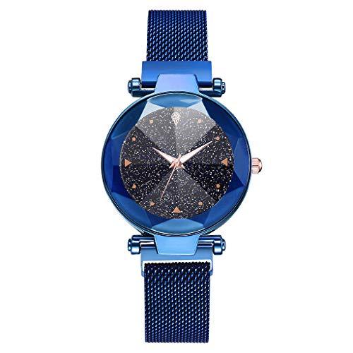 Damen Uhr,Zimuuy Mode Elegant Sternenhimmel Quarzuhr Exquisit Analog Armbanduhren Edler Schmuck (Blau)