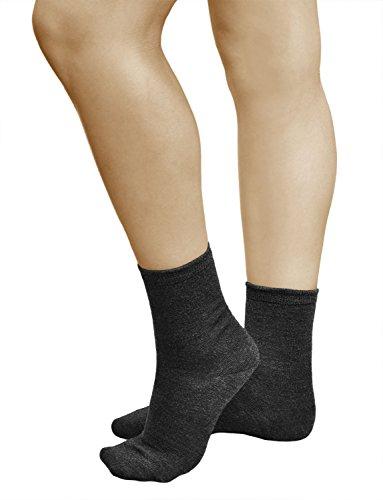 vitsocks Calcetines Lana MERINO 80% Calientes Mujer (3 PARES) Transpirables Suaves, lisos gris, 35-38