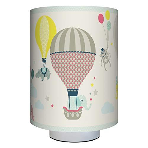 Anna Wand Tischlampe HOT AIR Balloons Taupe/BLAU/Koralle – Kinderzimmerlampe m. Heißluftballons – inkl. Lampenschirm/Lampenfuß/Stoffkabel & Leuchtmittel – Kinder Tischleuchte für Mädchen & Jungen