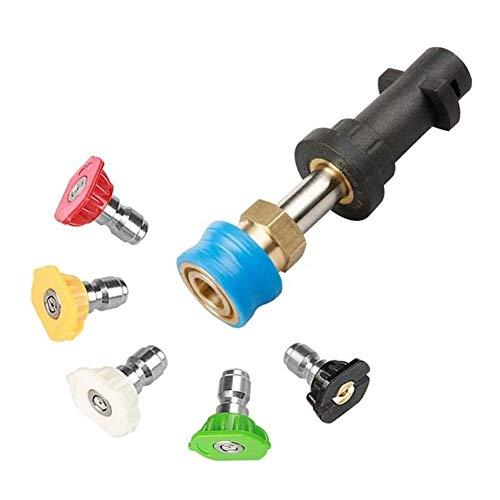 XINXI-YW Conveniente Adaptador de presión Lavadora con 1/4 Inch Blue Titular acoplador Hembra de Bronce Conector rápido y 0,8 Pulgadas de la Varita, 5 PCS Decorativo