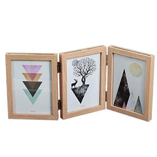 CHENGJIUWEILAI houten fotolijst, scharnierend dubbel fotolijst, glas voor, tafelblad verticale houder (voor 4X6 inch foto's, grijs, geel)