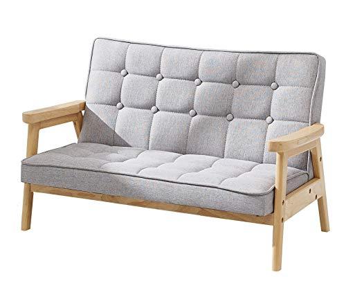 BunnyTickles Kindersofa, Kindersessel Kindercouch Sofa Kindermöbel, Doppelsofa, Massivholz, Farbe: Grau