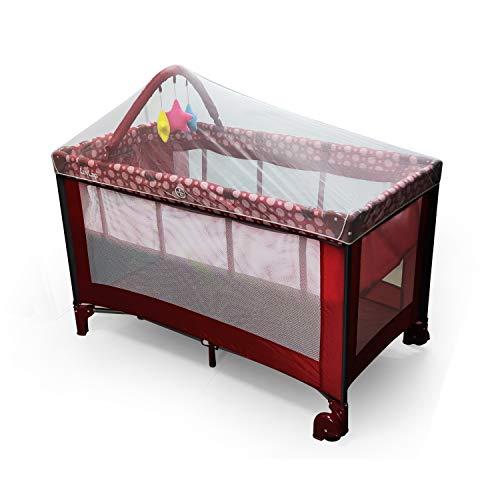 LuvLap Elegant Baby Playpen Playard for Kids/Toddlers, Folding Baby Bed Cum Cot/Convertible Crib - (Red)