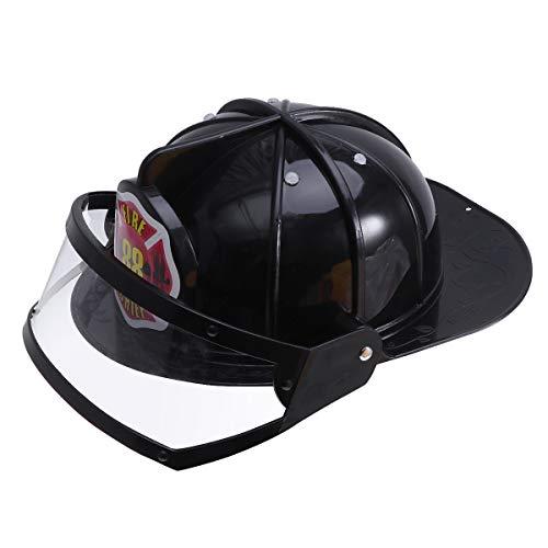 Amosfun Feuerwehrmann Hut Schutzhelm Spielzeug Kunststoff Helm Kostüm Party Hüte für Kinder Kinder (schwarz)