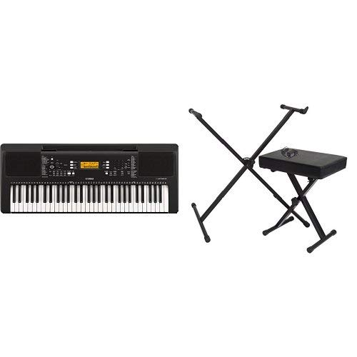 Buy Discount Yamaha PSR-E-363 61-Key Touch Sensitive Portable Keyboard with Stand, Bench and Power S...