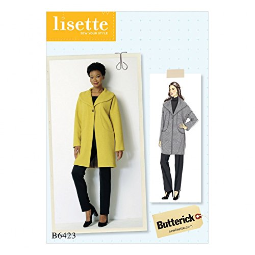 BUTTERICK Damen-Schnittmuster 6423, Schalkragen, Mantel mit Taschen