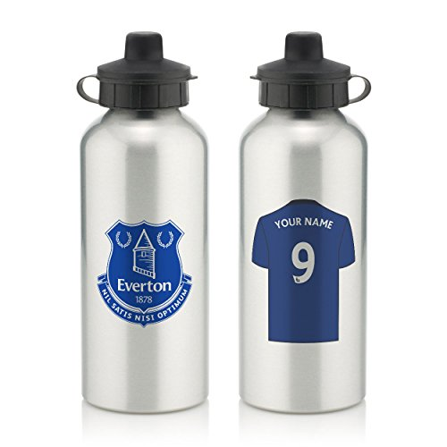Everton Official Personalised Aluminium Water Bottle with Spring Hook (600ml) - Silver