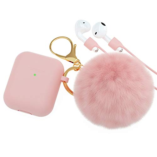 BRG for AirPods Case,Soft Cute Silicone Cover for Apple Airpods 2 & 1 Cases with Pom Pom Fur Ball Keychain/Strap/Accessories for Women Girls (Front LED Visible)