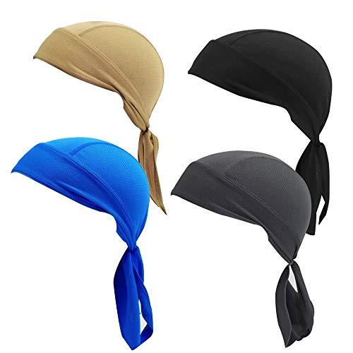 Lazz1on Bandana Cappellino da Ciclismo, Berretto da Running Protezione UV da Pirata sotto Il Casco ad Asciugatura Rapida per Uomo Donna 4pz