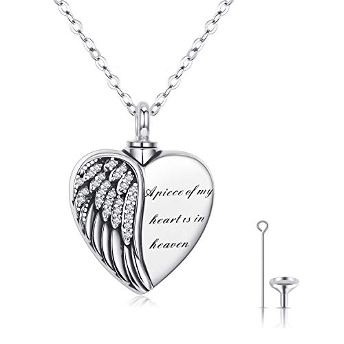 Ashes Necklace, Urn Necklaces for Ashes 925 Sterling Silver Ashes Keepsake Cremation Pendant A Piece of My Heart is in Heaven Ashes Jewellery for Mum Dad Women Men Dog
