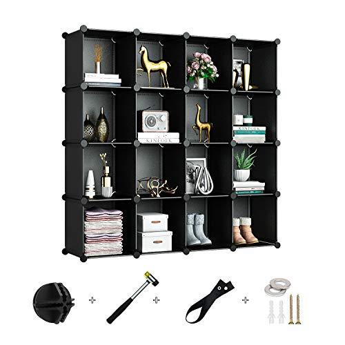 Greenstell Schrank mit 16 Würfeln, Regalsystem, Multifunktionsschrank mit Würfel, DIY Regal zur Aufbewahrung von Büchern, Kleidung, Spielzeug, Kunst, Dekorationen, Schuhe