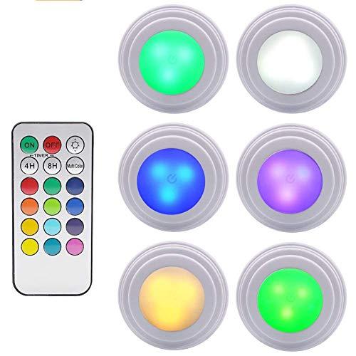 Under Cabinet LED-Leuchten - GreeSuit Wireless Fernbedienung Helligkeit einstellbar LED Puck Schrank Licht, Multi-Color LED Accent Leuchten Batteriebetrieben (6 Stück)