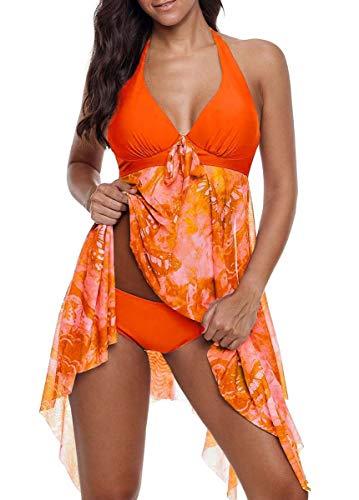 CIZEUR Tankini Damen Bauchweg Große Größen mit Short Badeanzug Blumendruck Push up Beachwear Swim Kleid Elegante S Fluoreszierendes Orange