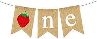Rainlemon Burlap Strawberry One Banner Rustic Jute Baby Girl 1st Birthday Party Highchair Bunting Garland Decoration