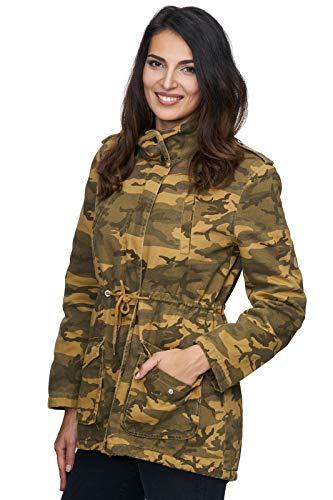 Rock Creek Damen Army Jacke Camouflage Winterjacke Mantel Parka Warm Gefüttert Militärjacke Damenjacken Teddyfutter D-243 Gelb XL