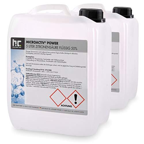 Höfer Chemie 2 x 5 Liter Zitronensäure 50{5bf0e15a87b40d9a57216215fb4c04cbf12e92a2ffbd0994868a164420c1b660} flüssig handlichen 5L Kanistern - TECHN. QUALITAET