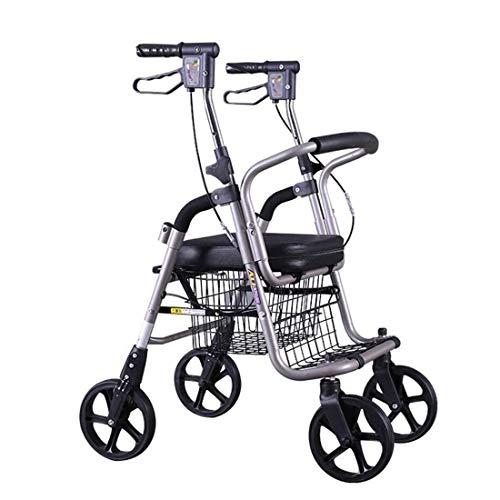 Rollator Walker Taschen for Rollator Rollat oder Walker, Leichtgewicht-Rollator Auf Vier Rädern, Höhenverstellbar Mit Feststellbarer Bremse Einkaufswagenlaufkatze des Alten Mannes