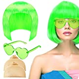 4 Pieces Party Wigs and Sunglass Set Neon Short Bob...