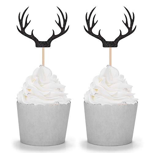 24 Counts Black Deer Antler Cupcake Toppers Picks For Wedding Birthday Baby Shower Party Decorations