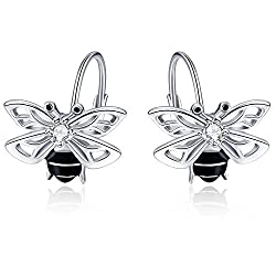 Bee Dangle earring In Sterling Silver With Rhinestone