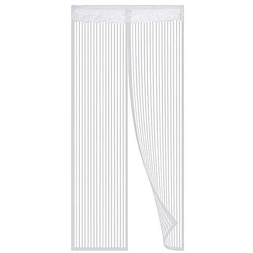 Puerta de mosquitera magnética, mantener a los insectos insectos fuera de la cortina de la puerta de malla de mosquito, se adapta a la puerta de hasta 90 x 210 cm, fácil de instalar, blanco