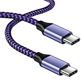 60W/3A Fast Charging USB Type C Cable, USBC to USB-C Power Charger Cord for Samsung Galaxy A10/A20/A51/S20/S10, LG V20/V30/V40/V50, Braided Type-C to USB-C Android Cables | Purple