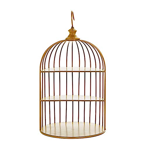 BalsaCircle 22-Inch Gold 3 Tier Metal Hanging Bird Cage Dessert Cupcake Stand - Wedding Reception Party Table Decorations Supplies
