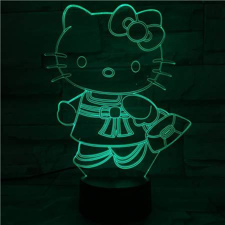 Lampe Illusion, Veilleuse 7 Couleurs À Del Dégradée, Lampe De Table Acrylique 3D Lampe D'Ambiance Cat Kitty