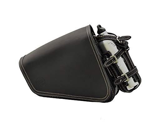 DEEMEED Outsider - Bolsa de piel para sillín de bicicleta, impermeable, para Harley Sportster, equipaje, bolsa de herramientas (Ecry)