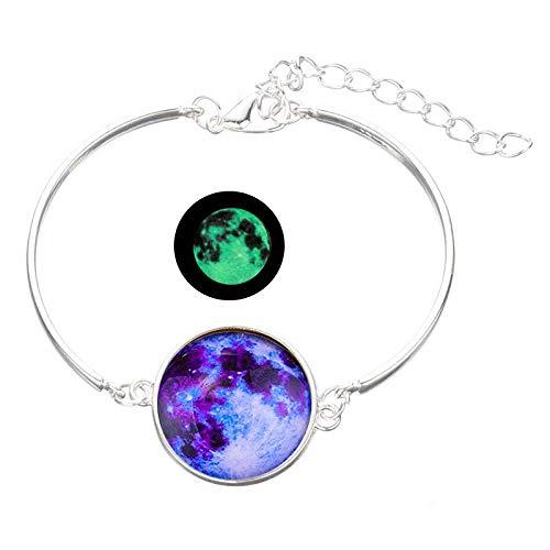 Style7 Lumper Pulsera de cristal que brilla en la oscuridad, luminosa, serie de estrellas, planeta, pulseras y brazaletes de cabujón de vidrio