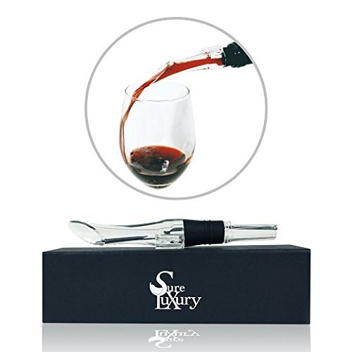 Sure Luxury Wine Aerator Spout Pourer - Bar Wine Accessories with Stopper and Travel Carry Case (Wine Aerator Pourer)