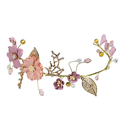 Lurrose Flor Nupcial Diadema Tela Floral Pelo Vid Dulce Oro