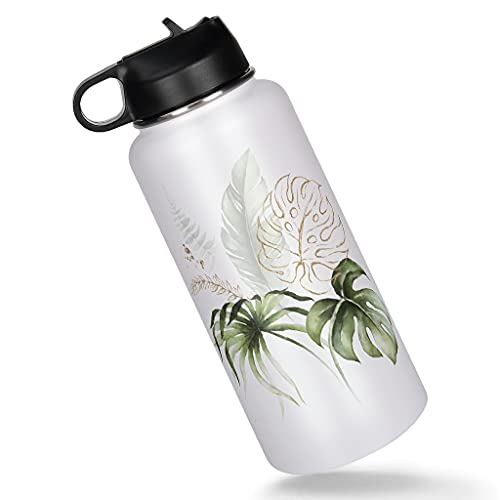 KittyliNO5 Botella de acero inoxidable de viaje con diseño de hojas de plátano, aislado al vacío, con tapa de pajita, para deporte, agua, para viajes, color blanco, 1000 ml