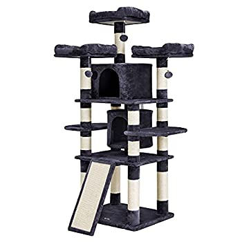 FEANDREA 67 Multi-Level Cat Tree for Large Cats with Cozy Perches Stable Cat Tower Cat Condo Pet Play House UPCT18G