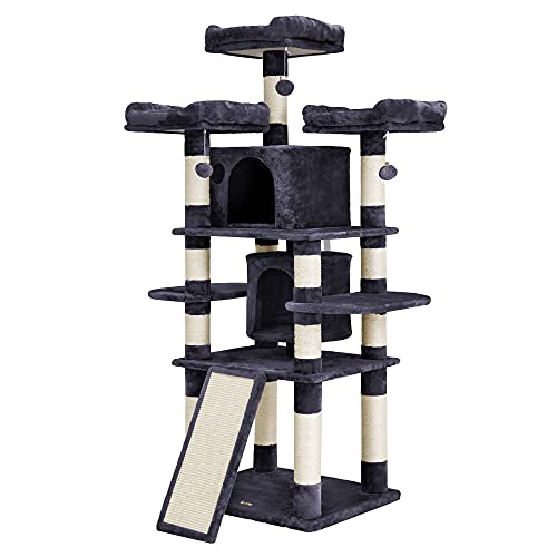 FEANDREA 67' Multi-Level Cat Tree for Large Cats, with Cozy Perches, Stable Cat Tower Cat Condo Pet...