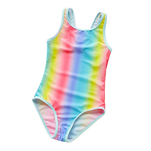 Natador Playa Niños Traje De Baño Bikinis Set Verano Niños Sin Mangas Sin Respaldo Arco Iris Rayas Traje De Baño De Una