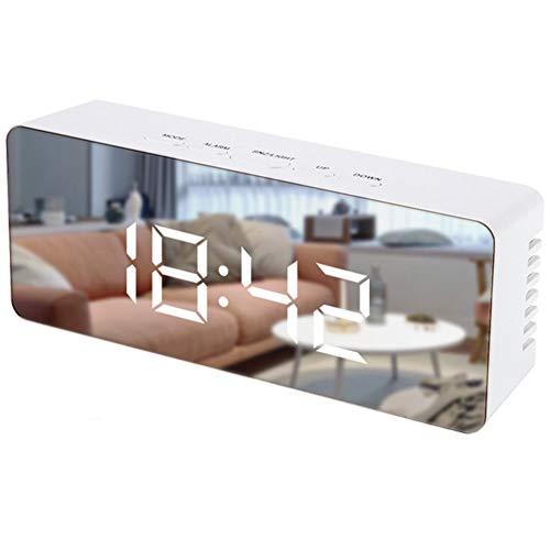 ZYCH Reloj Reloj Despertador con Espejo Digital con 5.5' Gran Pantalla LED Espejo Reloj Digital,Tiempo de Repetición,Brillo Ajustable,USB y Funciona con Pilas para Dormitorio,Oficina Alarma