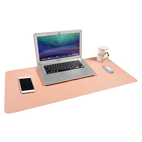 """Gogloo Multifunctional Office Desk Pad, Dual Sided PU Leather Mouse Pad, Thin and Waterproof Desk Blotter Protector, Desk Writing Mat for Office/Home (Pink, 31.5"""" x 15.7"""")"""