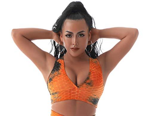 BEELU FASHION BOUTIQUE Textured Tie-Dye Sports Bras for Women Yoga Gym Workout Fitness V Neck Tops(Orange,L)