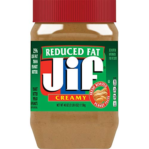 Jif Reduced Fat Creamy Peanut Butter, 40 Ounces (Pack of 8), 25% Less Fat than Regular Peanut Butter, Smooth, Creamy Texture, No Stir Peanut Butter