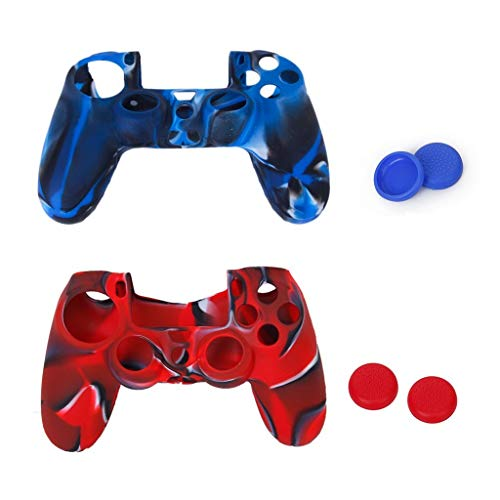 Sungpunet - Custodia in silicone e 2 paia di tappi per levette copri pulsante per controller di PlayStation 4 PS4, 2 pezzi